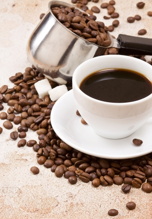 bens: cup, coffee, sugar and bens Stock Photo