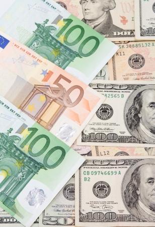 banknotes of dollar and euro photo