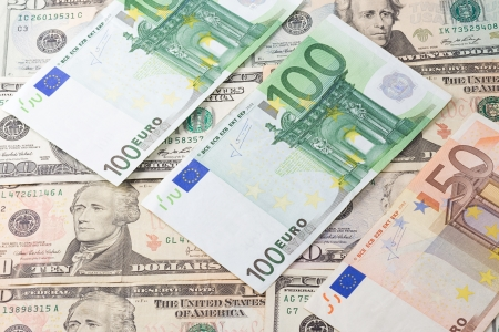 horizontal image of dollars and euros background photo