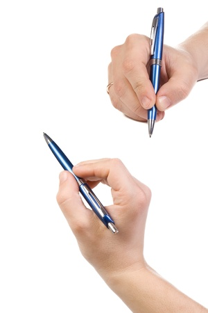 two male hands with pen photo