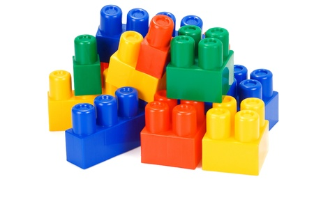 plastic bricks: colorful plastic bricks on white