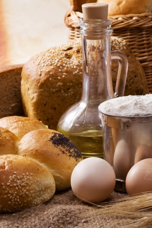 set of bakery products on table photo