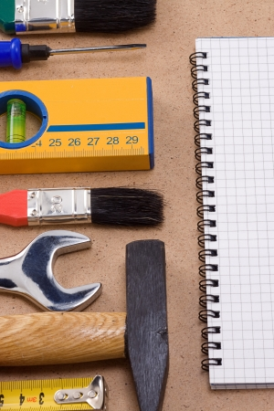 binder pad and set of tools photo