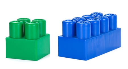 plactic: two plactic colorful bricks on white Stock Photo