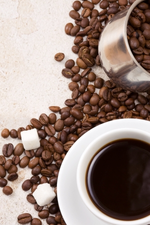 coffee pot, cup and sugar Stock Photo - 14021556