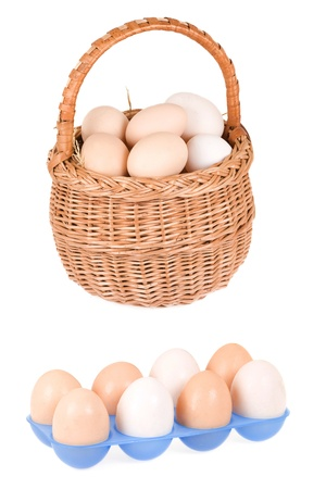 plastic container and basket with eggs photo