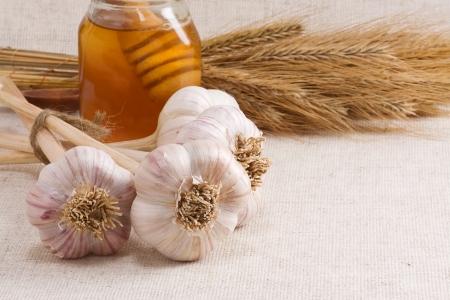 tasty garlic and honey on sack