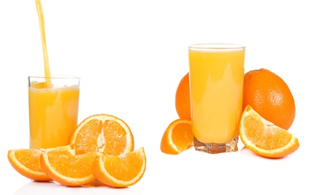 standing glass with juice and orange photo