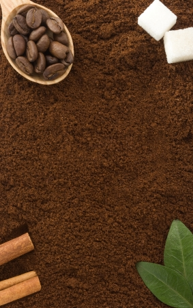 coffee powder and beans as background texture photo