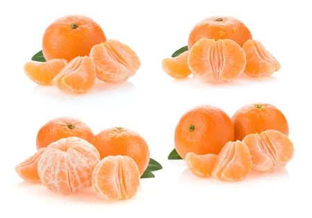 tangerine orange fruit collage and slices isolated on white background photo