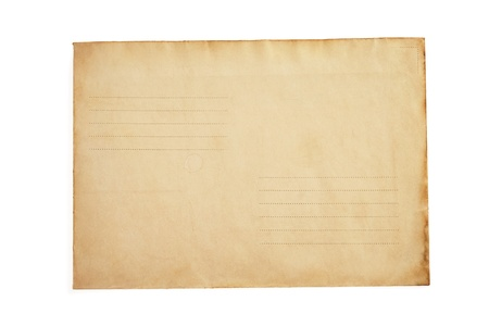 old retro envelope isolated on white background photo