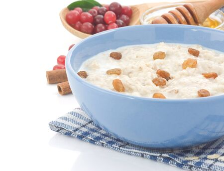 oatmeal and milk isolated on white background Stock Photo - 14383179