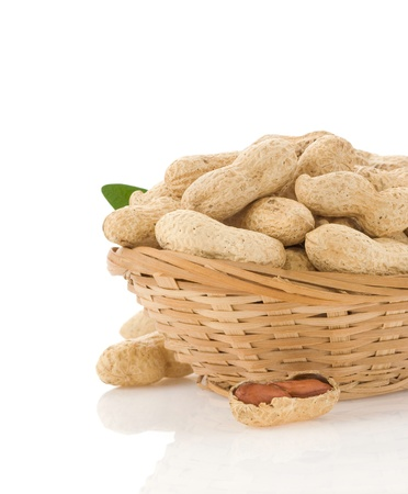 peanuts in bowl isolated on white background photo
