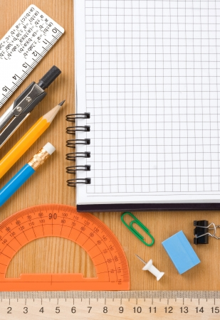 back to school and supplies on wood background Stock Photo - 14383787