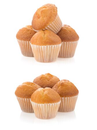 muffin cakes collage isolated on white background photo