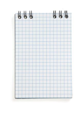 checked notepad  isolated on white background photo