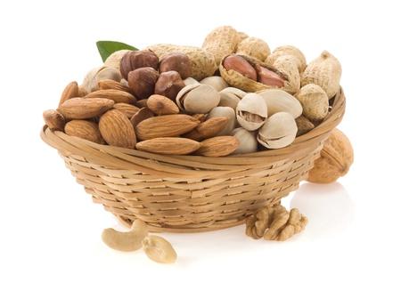 set of nuts isolated on white background Stock Photo