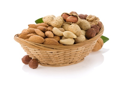 nuts in bowl isolated on white background photo