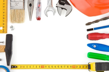 set of tools and instruments isolated on white background photo