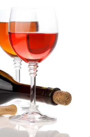 wine in glasses and bottle isolated on white background photo