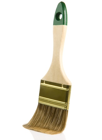 vibrant paintbrush: wooden paintbrush isolated on white background