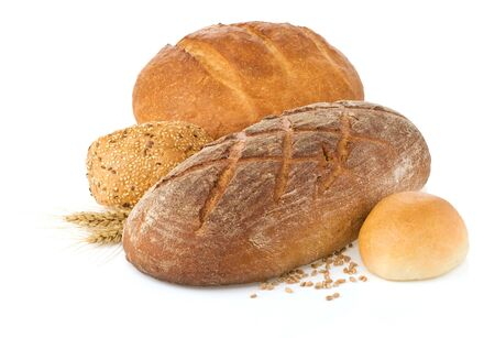 fresh bread isolated on white background photo