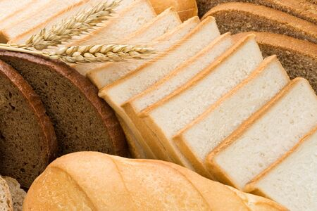 assortment of baked bread as background photo