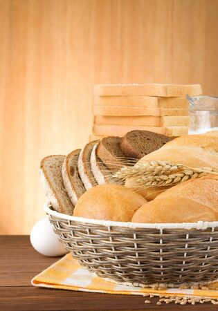 fresh bread on wood background Stock Photo - 15087147