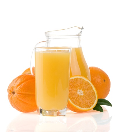 juice and orange fruit isolated on white background photo
