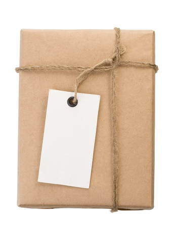 parcel wrapped packaged box isolated on white background photo