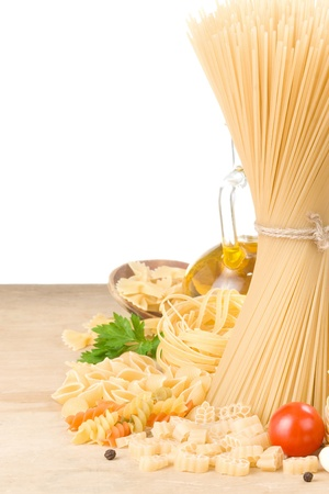 pasta and healthy food isolated on white background photo