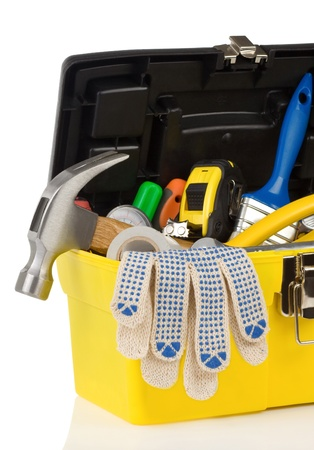 set of tools in toolbox isolated at white background photo