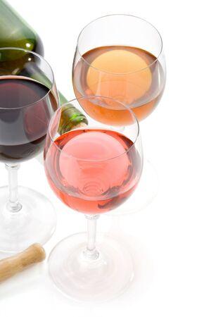 wine bottle and  wineglasses   isolated on white background photo