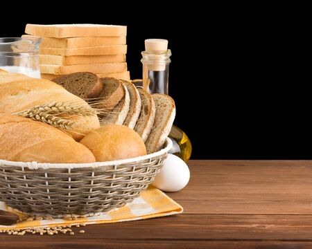 fresh bread isolated on black background Stock Photo - 15460036