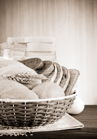 fresh bread on wood background Stock Photo - 15460028