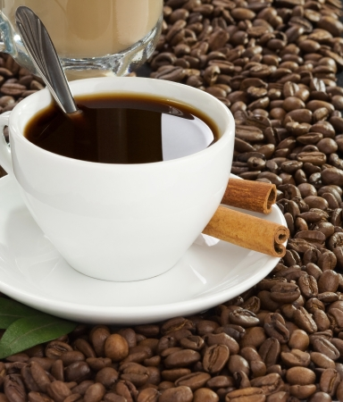 cup of coffee and beans set background photo