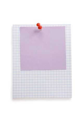 pushpin and note paper isolated on white background Stock Photo - 15459991