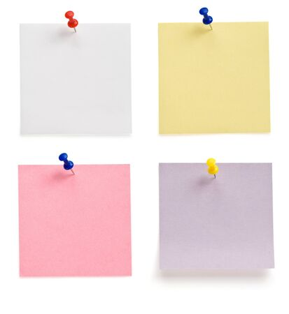 pushpin and note paper isolated on white background photo