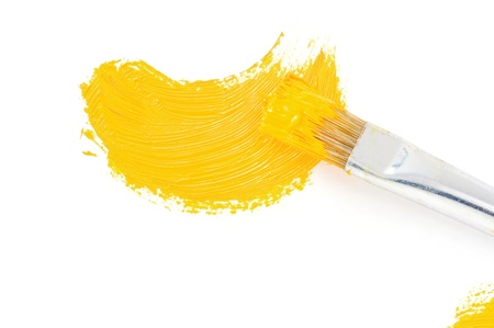 vibrant paintbrush: brush and oil paint stroke isolated on white