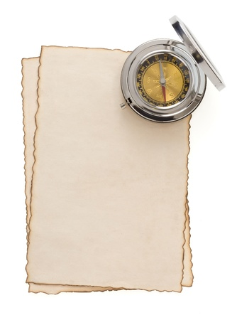 compass at parchment isolated on white background Stock Photo - 15459915