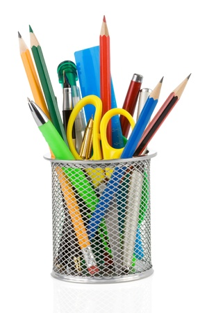 holder basket and office supplies isolated on white background Stock Photo - 15585458
