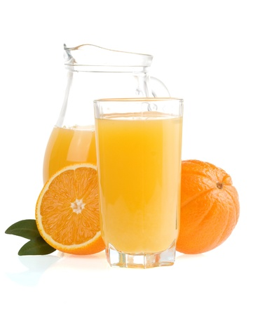 orange fruit and juice isolated on white background photo