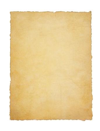 nota de papel: papel pergamino vendimia aislado en el fondo blanco