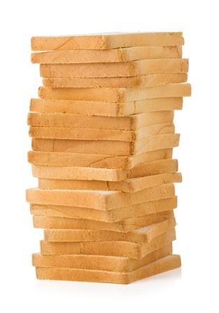 gesneden brood geïsoleerd op witte achtergrond Stockfoto