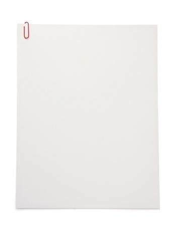 Papier leeres Blatt isoliert auf weißem Hintergrund