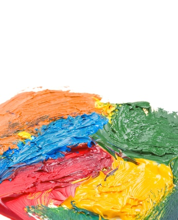 color mixing: color paints isolated on white background