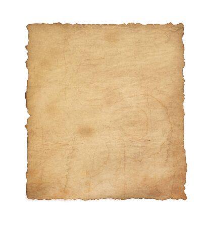 Papier vintage Pergament isoliert auf weißem Hintergrund