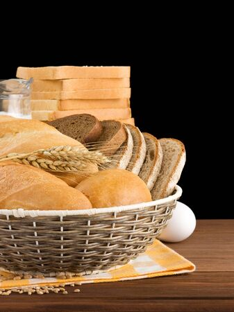 fresh bread isolated on black background Stock Photo - 16302033
