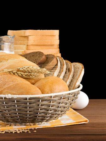 fresh bread isolated on black background Stock Photo - 16302033