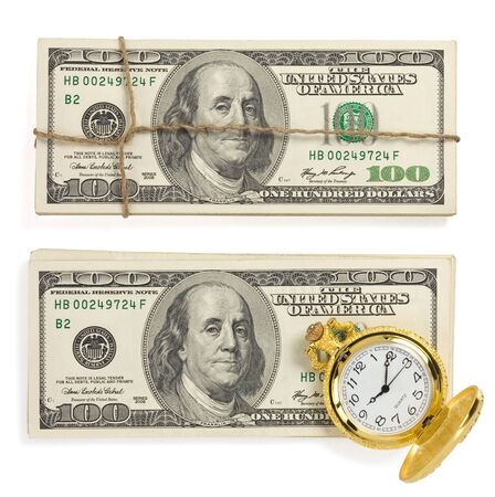 dollars money banknotes isolated on white background photo